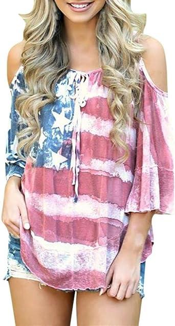 Camisa Top Casual Mujer Bandera Americana Camiseta, yumm Camiseta Mujer sciolto Impresión Chaqueta playa niña, Camisole canotte y Top, Bluse y camisas, Verano Camisa Camisa, camiseta de algodón, camisetas: Amazon.es: Iluminación