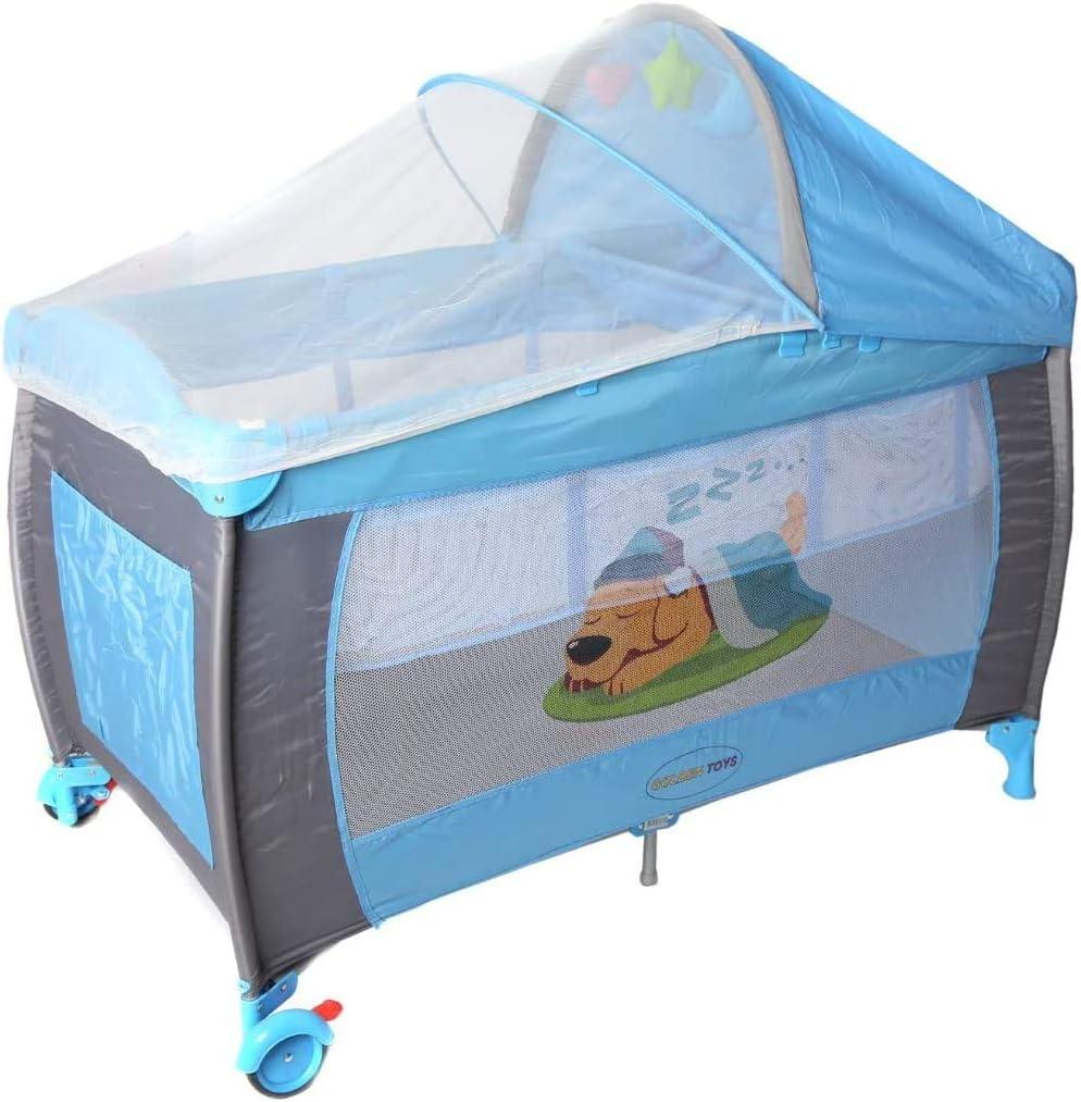 جولدن تويز سرير الاطفال المحمول للعب للاولاد - ازرق - DG-55110