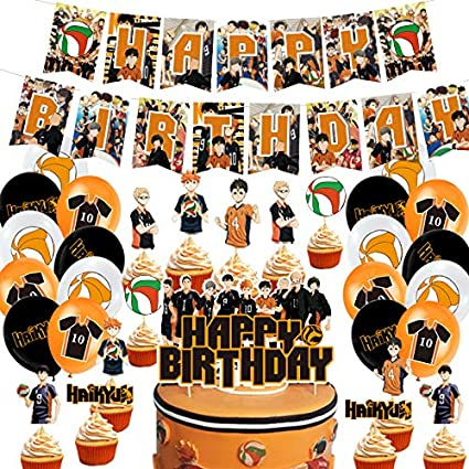 24 Cupcake Toppers 1 Big Cake Toppers 24 Ballons for Fans Boys Girls Haikyuu 1 Banner Haikyuu Birthday Party Supplies Theme Party Favors Decorations Banner Cake Toppers Gift Set