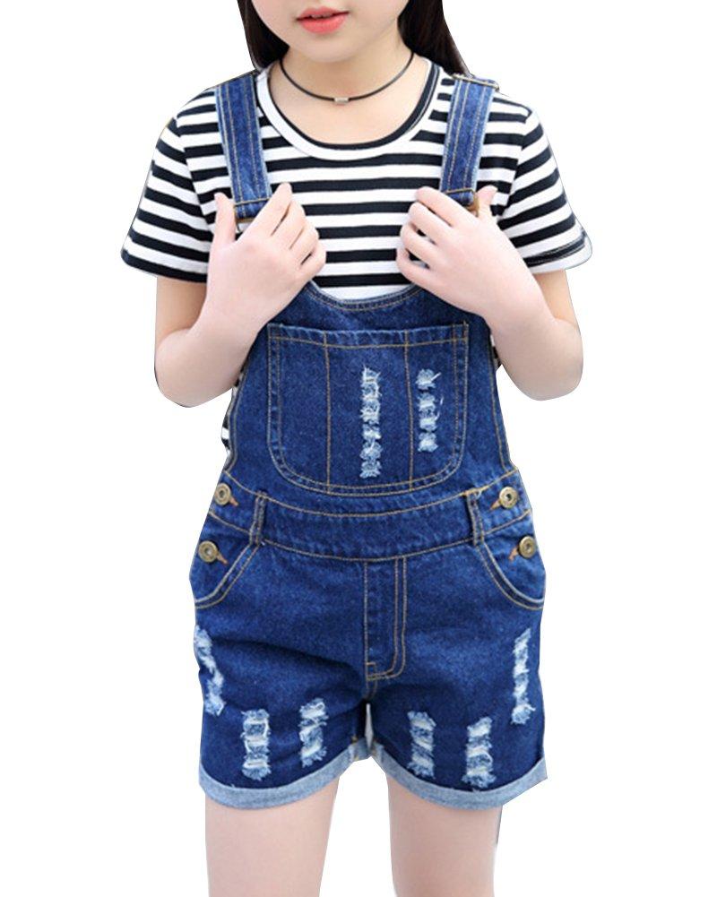 Guiran Salopette Corta Jeans Ragazze Salopette Pantaloncini Denim Jeans Overall Jumpsuit