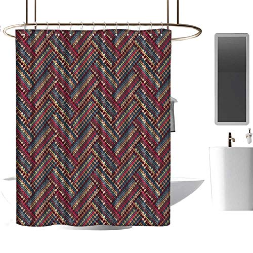 MKOK Home Shower curtain60 x72 Red and Brown,Classical Knitting Pattern Image Autumnal Colors Herringbone Zigzag Stripes,Multicolor,Washable,Durable,Brick Dobby Pattern for Bathroom