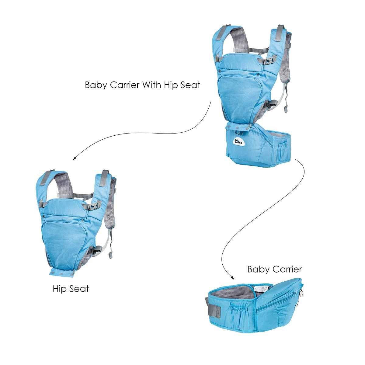 Joly Joy Baby Carrier with Hip Seat, Removable 6-in-1 multifunctional adjustable baby carriers, 360 Ergonomic Baby Carriers Backpack- Adapt to Newborn, Infant & Toddler, All Season Baby Sling