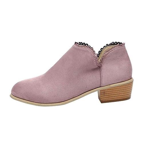 ba9a9e53 Minetom Botines Mujer Tacón Medio, Chelsea Piel Elásticos 5 Cm Zapatos De Botas  Comodos Fiesta