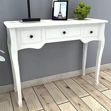 Mesa consola con 3 cajones, blanca.: Amazon.es: Bricolaje y ...