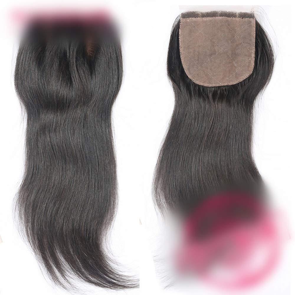 HOHYLLYA ストレート人間の髪の毛の閉鎖ブラジルのリアルヘアフリーパート4 * 4レースの閉鎖ヘアエクステンションナチュラルカラー複合ヘアレースかつらロールプレイングかつら (色 : 黒, サイズ : 16 inch) B07THVBS9H 黒 16 inch