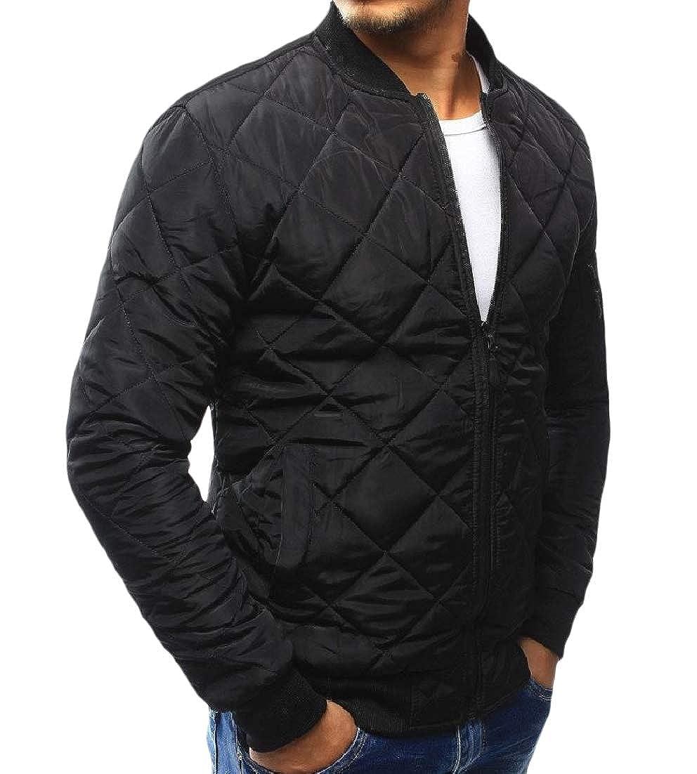 Andopa Men Slim Fit Puffer Padded Outwear Solid Baseball Zip Jacket Coat