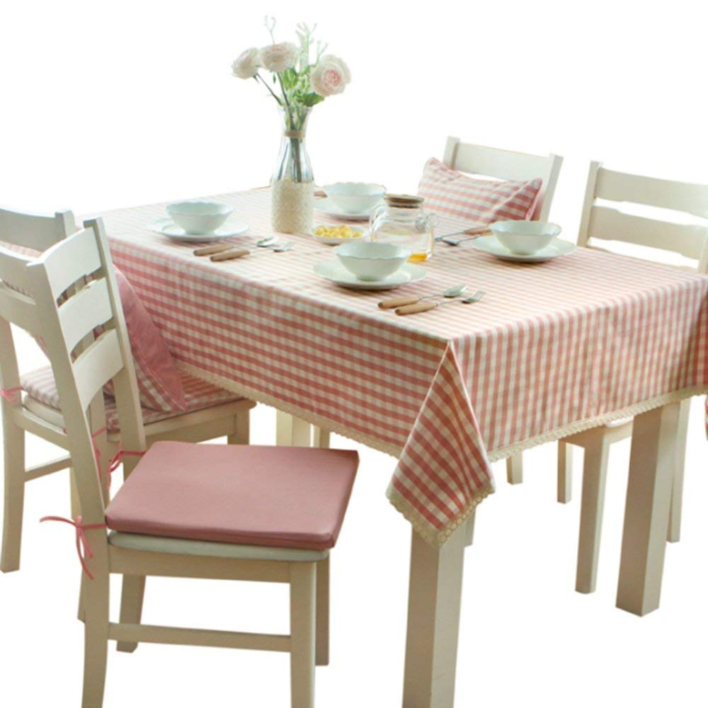 QiXian Tablecloth Table Cover Modern Contemporary Minimalist Lace Tablecloth Fresh Pink Lattice Tablecloth Cloth Waterproof Tablecloth for Wedding Restaurant Party Indoor Kitchen Picnic