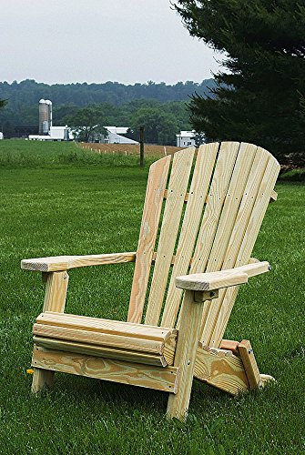 Pressure Treated Pine Folding Unfinished Fan Back Adirondack Chair Amish Made USA