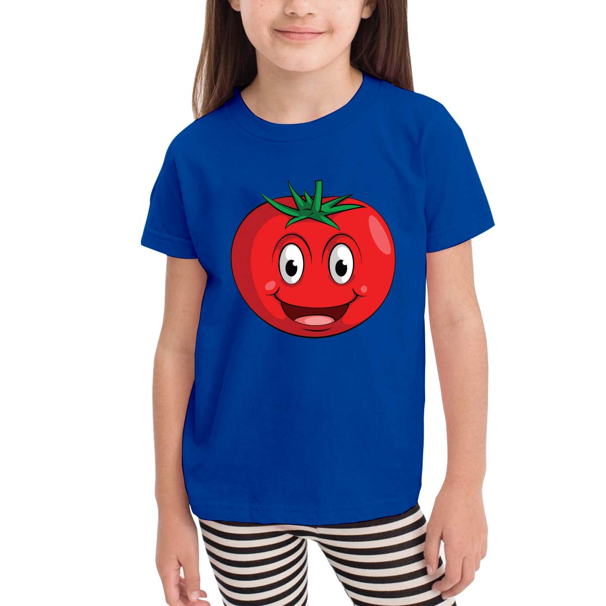 Kids T-Shirt Tops Black Smile Tomato Unisex Youths Short Sleeve T-Shirt