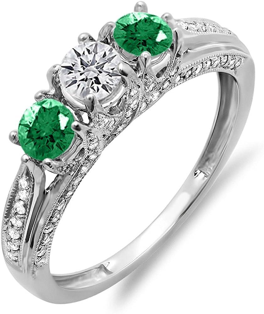 Dazzlingrock Collection - Anillo de compromiso de oro blanco con 3 piedras de diamante blanco y esmeralda redondo de 14 quilates para mujer