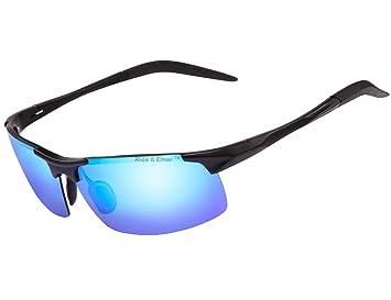 Alice & Elmer Gafas de sol deportivas polarizadas para hombre con ultraligero negro marco espejado azul