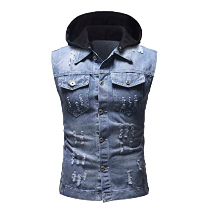 76fa33a6c32 Amazon.com  Easytoy Men s Jeans Ripped Vest Comfortable Motorcycle Denim  Sleeveless Waistcoat Jacket Outwear with Hood (Hoodie Light Blue