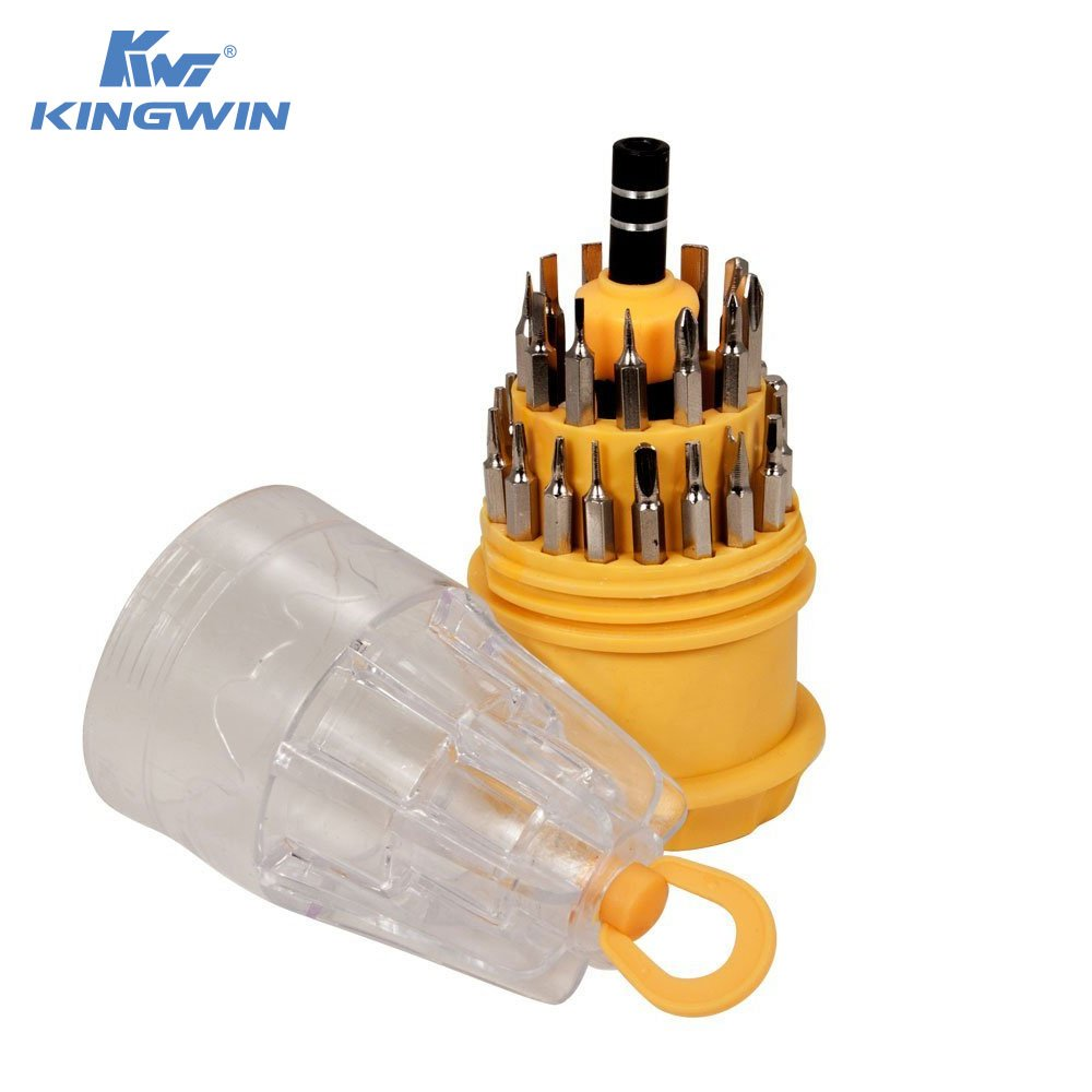 Kingwin 31-Piece Precision Micro Tip Screwdriver Repair Tool Set for iPhones, Galaxy S, MacBook, Laptop PC, and Other Electronics. Magnetic Base Screws, and Rubber Coating