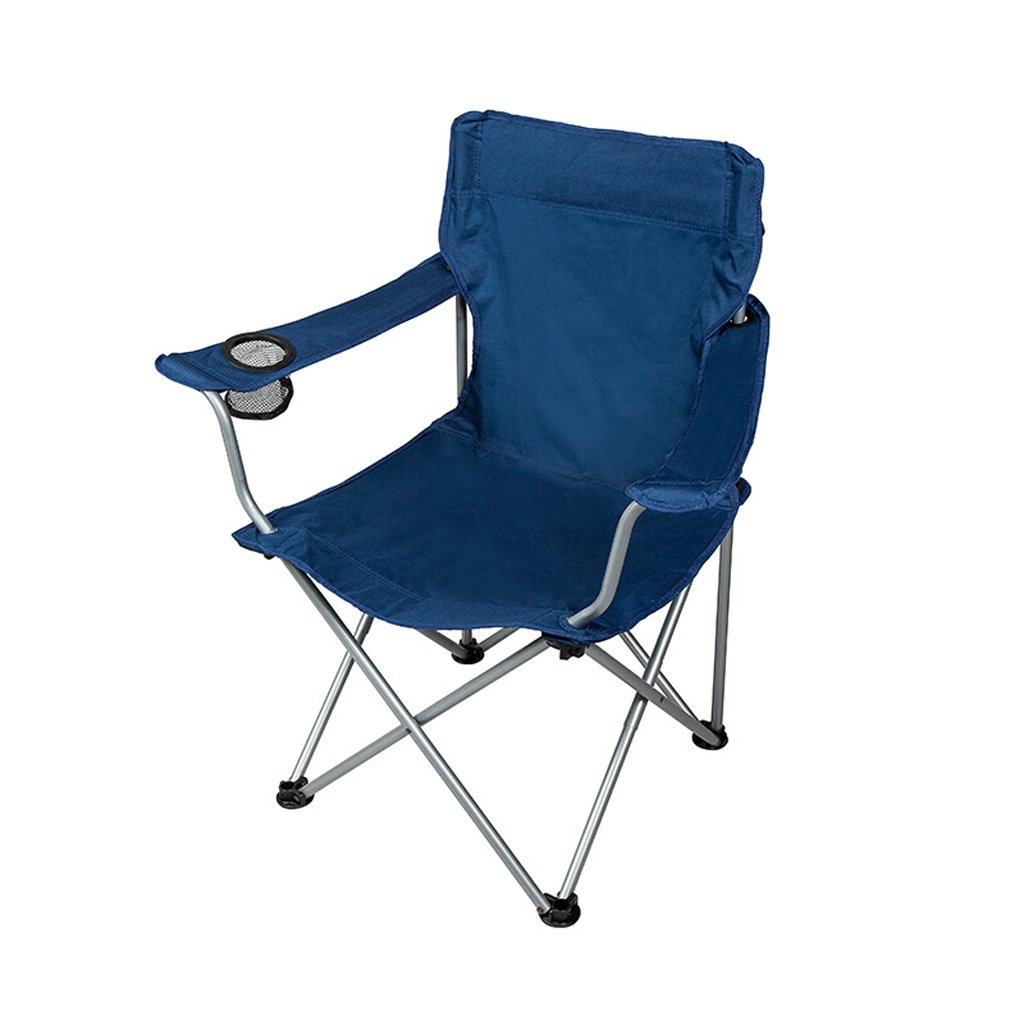 Homelx Klappstuhl im Freien Eisen-Fischen-Stuhl-einfacher Stuhl-tragbarer Stuhl-Strand-Klubsessel-im Freienlehnsessel mit Ineinander greifen-Getränkehalter