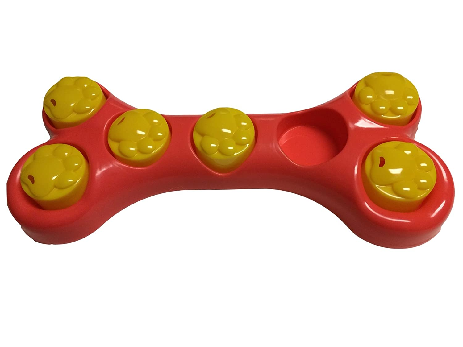 Find The Treat Dog Play Game Feed and Fun All in One Red and Yellow