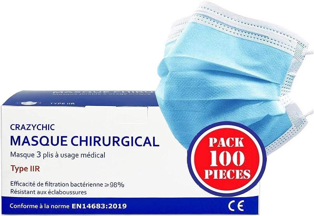 CRAZYCHIC - Mascarilla Higienica Desechable Certificación CE EN14683 Tipo II - Máscara 3 Capas Protectora Boca Nariz - Entrega Rápida