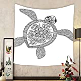 Gzhihine Custom tapestry Turtle Tapestry Artistic Turtle Figure Henna Mehndi Tattoo Style Doodles Floral Ornaments Asian for Bedroom Living Room Dorm 60 W X 40 L Black and White