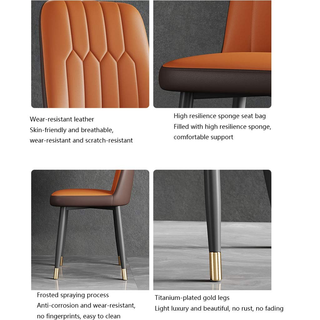 Xiaoli 2ST Nordic Light PU Dining Chair med titanförgylld fotskydd svamp fylld matrumsstol för hem (färg: Alla vit) apelsin