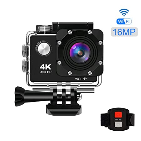 KppeX 4K WiFi Vlog Sports Action Camera Ultra HD DV Camcorder Underwater Waterproof Camera for VLOG 16MP 170 Degree Ultra Wide Angle Lens with Remote ...