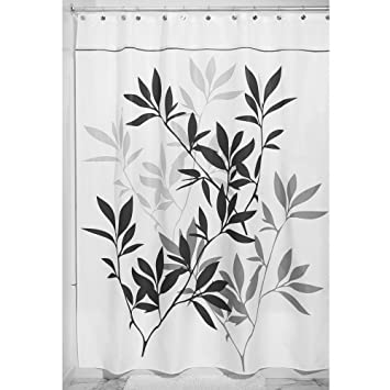 Amazon.com: InterDesign Leaves X-Long Shower Curtain, Black and ...