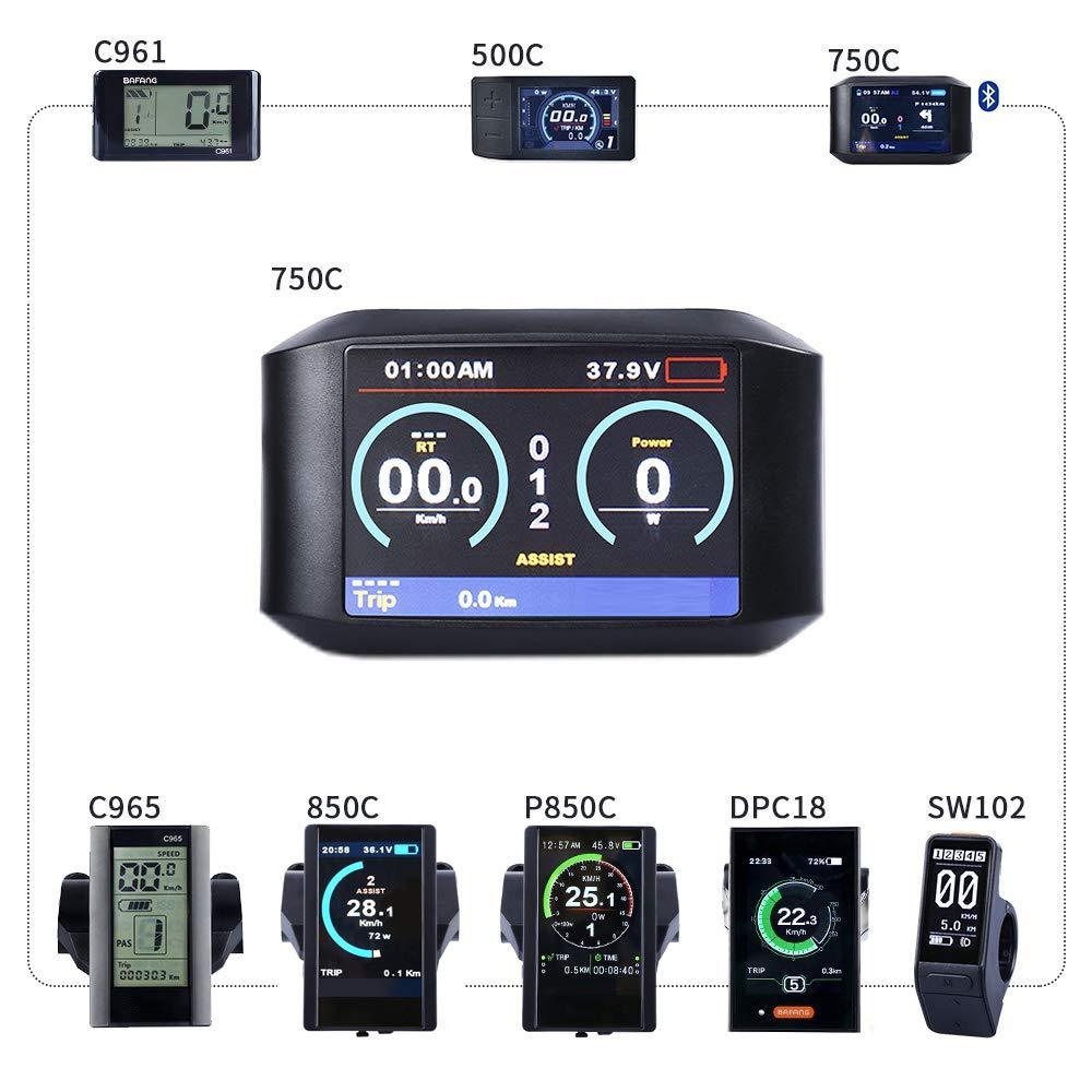 BAFANG HMI Color Display Electric Bike Odometer Bike Speed Meter Mid Drive Motor (750C)