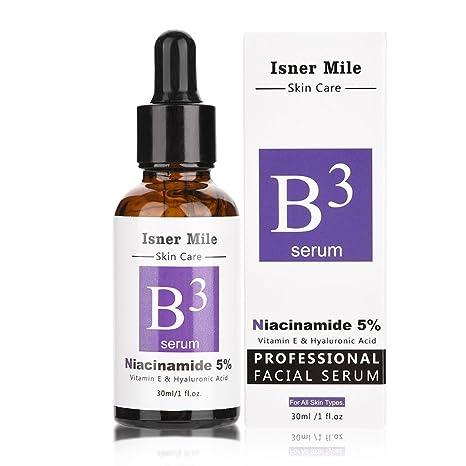 Serum Facial, Pure 5% Niacinamide Vitamina E y Acido Hialurónico Face Serum Whitening Crema