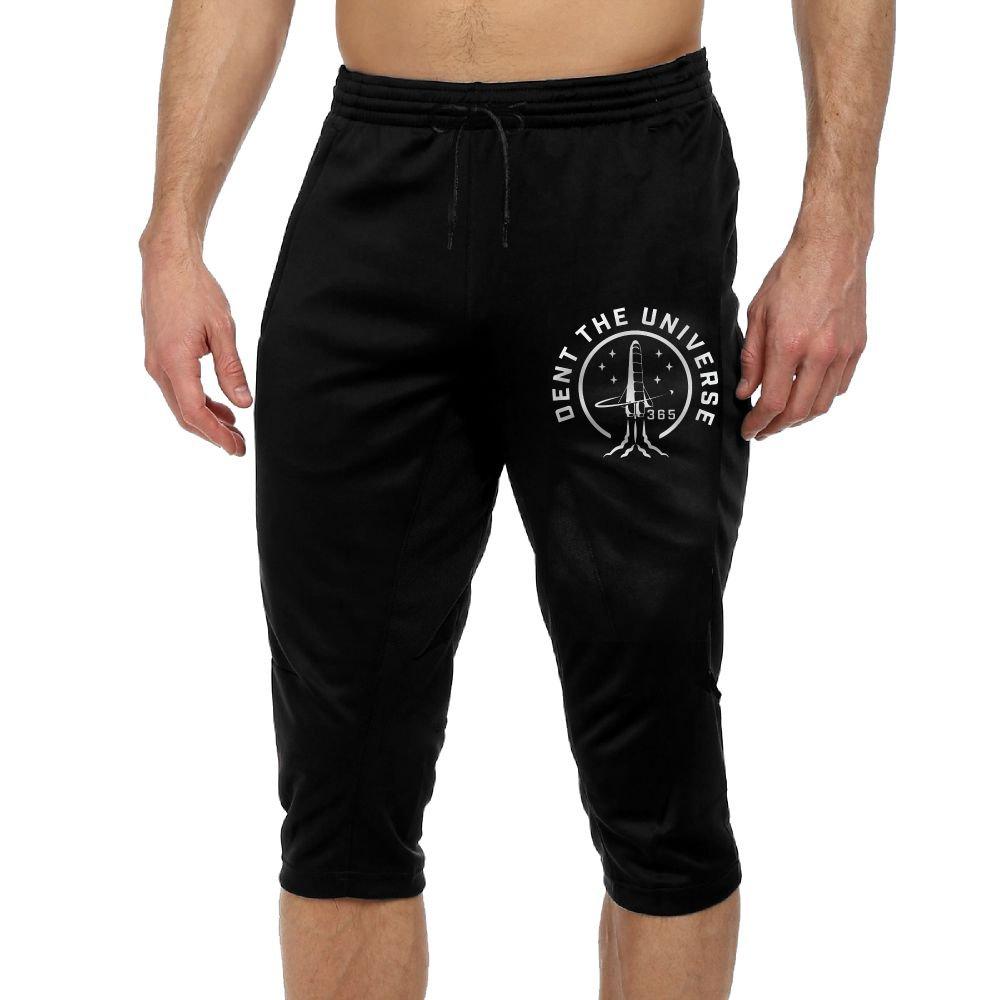 Men's Novelty Performance Dent The Universe Print Crop Sweatpant Capri Pants Drawstring Legging Pants Black Small