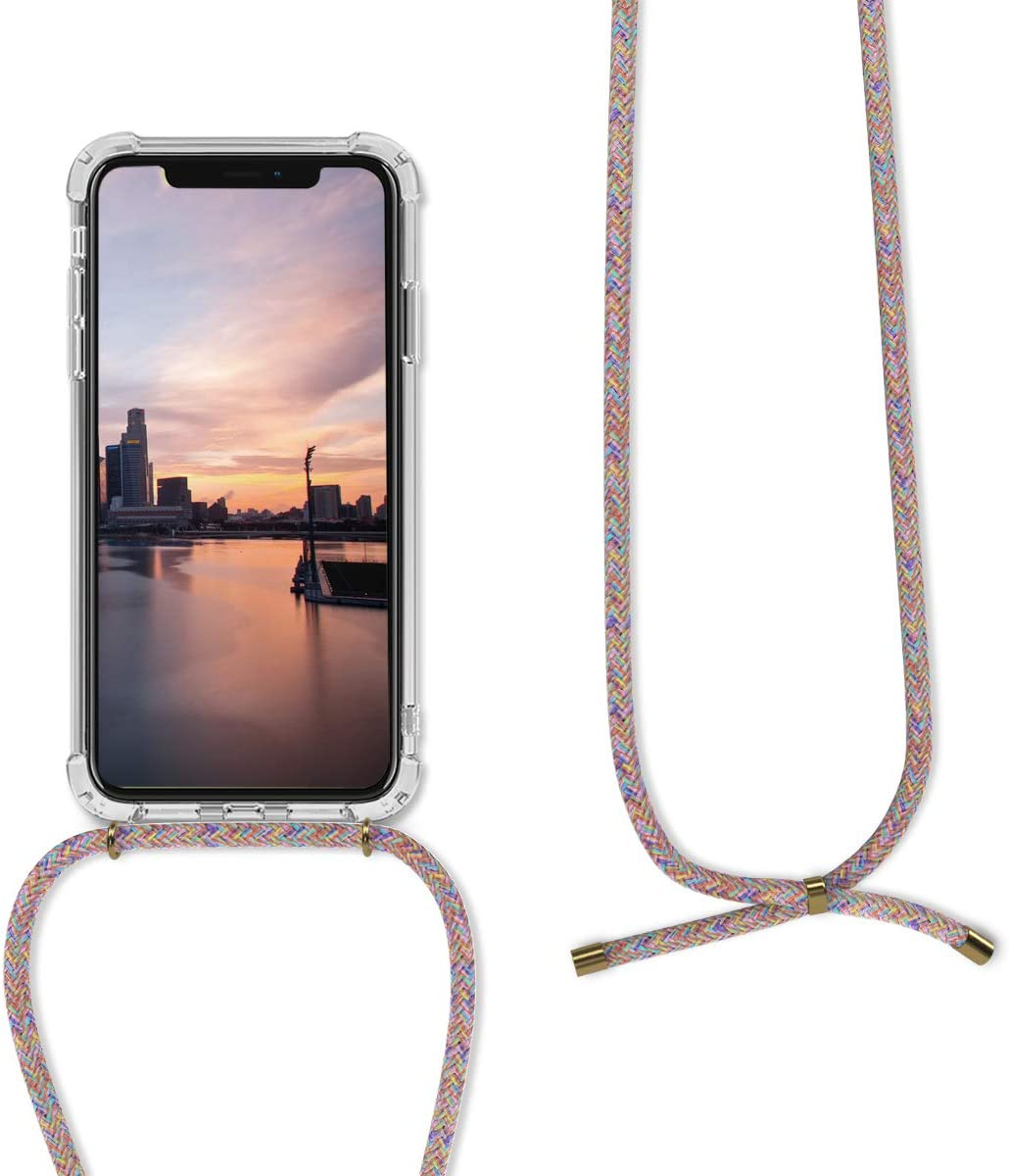 Transparent//Black//White kwmobile Crossbody Case Compatible with Apple iPhone XR Clear Transparent TPU Cell Phone Cover with Neck Cord Lanyard Strap