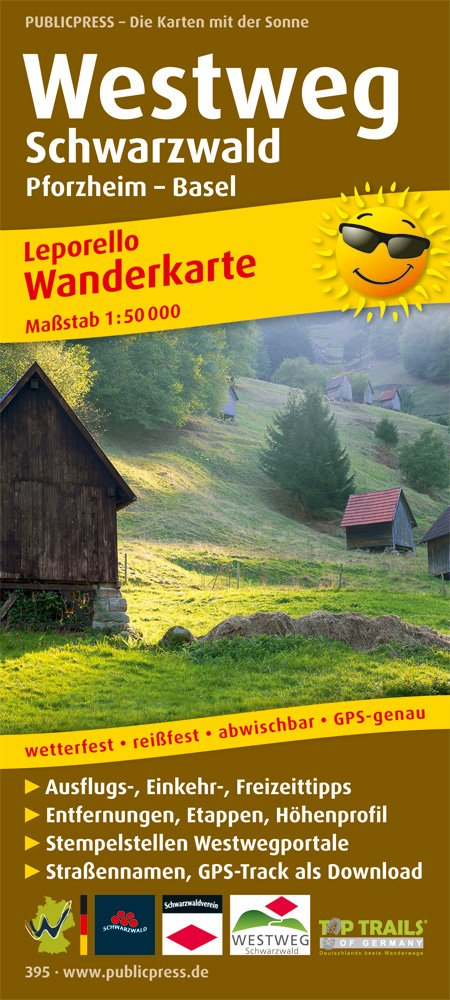 Westweg Schwarzwald, Pforzheim - Basel: Leporello Wanderkarte wetterfest, reissfest, abwischbar, GPS-genau. 1:50000 (Leporello Wanderkarte / LEP-WK)