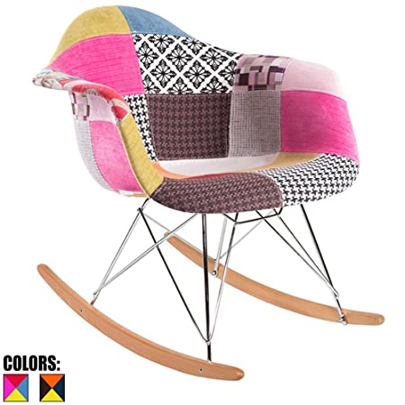 2xhome Multi Color Mid Century Modern Molded Shell Designer Plastic Rocking Chair Chairs Armchair Arm Chair Patio Lounge Garden Nursery Living Room Rocker Replica Decor Furniture DSW Chrome