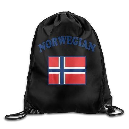 KCOUU Mochila con Cordón de Bandera Noruega para Hombre y Mujer