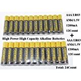 True AAA High-Power Large-Capacity Alkaline Long Lasting Batteries, Very Suitable for High-Power Electrical Appliances, (LR03 AM4 1.5V1200mAH), 24Pack (12Pack type) welcome the actual electrical test.