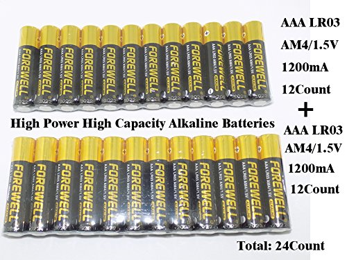 True AAA high-power large-capacity alkaline batteries, very suitable for high-power electrical appliances, (LR03 AM4 1.5V1200mAH), a total of 24Pack (12Pack type) welcome the actual electrical test..