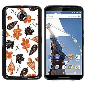Be Good Phone Accessory // Dura Cáscara cubierta Protectora Caso Carcasa Funda de Protección para Motorola NEXUS 6 / X / Moto X Pro // Autumn Fall Leaves White Pattern Brown