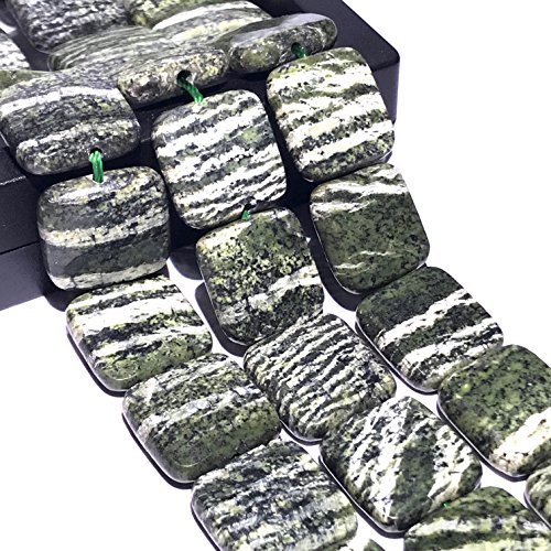 [ABCgems] Brazilian Chrysotile AKA Silver Leaf Serpentine (Beautiful Silvery Zebra Matrix) 15mm Faceted Square Beads