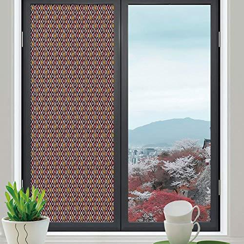 YOLIYANA Ethylene Film Printing Design Window Film,Ikat,Suitable for Kitchen, Bedroom, Living Room,Rhombus Pattern in Warm Colors Vintage Inspirations South,24''x70''