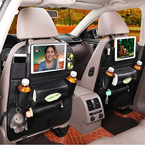 Premium Pu Leather Car Back Seat Organizer for Travel with Baby Storage Bags iPad Mini Holder, Back Seat Protector/Kick Mat/Car Organizer (1 Pack, Black)