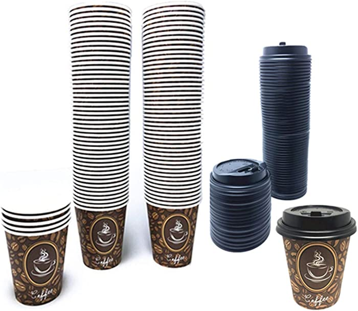 100 Pack Quality Disposable Paper Hot Coffee Cups with Lids, Perfect For Hot Drinks Tea & Coffee , Coffee Shops And Bars (8 oz, Coffee Bean Design)