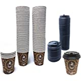 100 Pack Quality Disposable Paper Hot Coffee Cups with Lids, Perfect For Hot Drinks Tea & Coffee , Coffee Shops And Bars (8 o