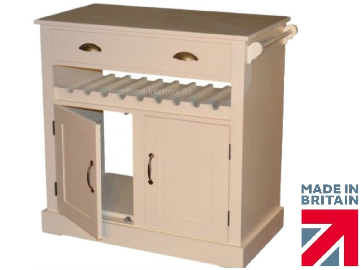 100 %Massivholz, Sideboard 92 cm, cremefarben, Küche Kommode ...