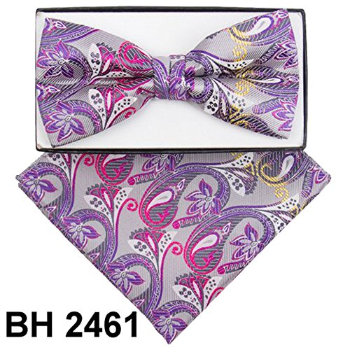 Men's Microfiber Gray Purple Fuchsia Paisley Pretied Bow Tie & Pocket Square Hankie Gift - Square Pocket Pattern Checked