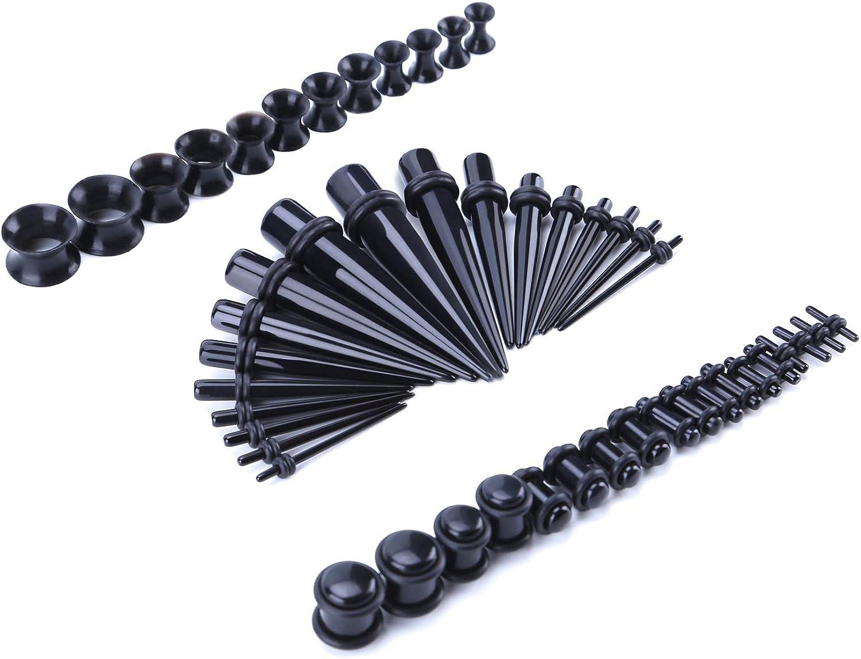 8pc Black Acrylic Spiral Taper Stretching Kit Ear Tunnel Plug Gauge Expander