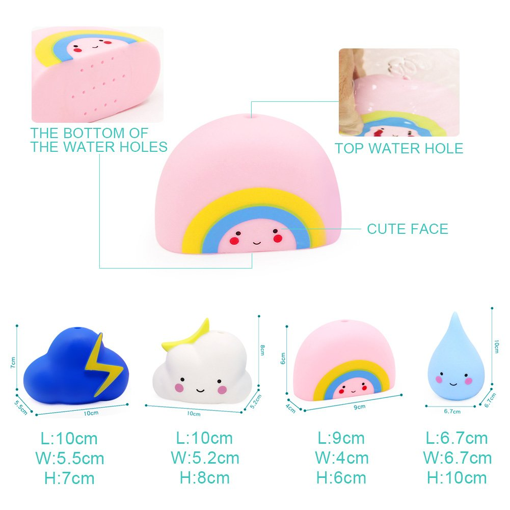 Amteker Baby Bath Toys, Bath Time Fun for Toddlers, Baby Toys Gift Set of 4 (Rain, Cloud, Rainbow, Thunder Cloud)