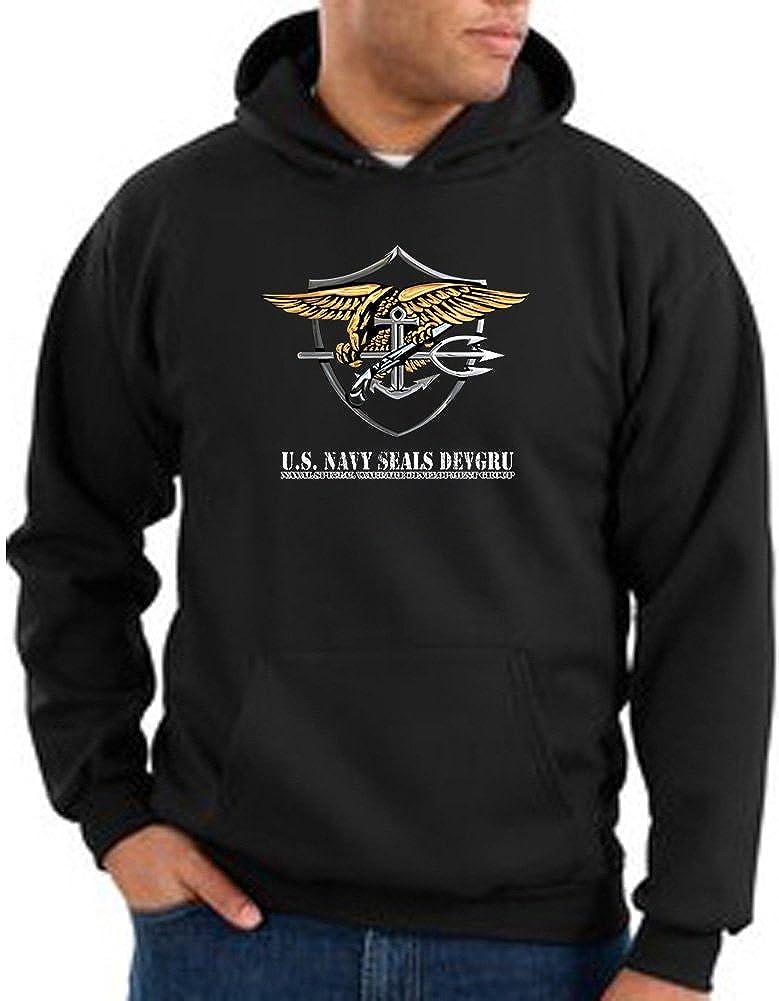 US Navy Seal Hoodie Sweat Shirt - Patriotic Adult Hooded Sweatshirt - Black 13053HD2-PC90H-BLK