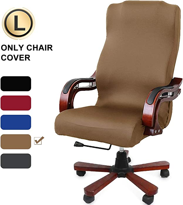 CAVEEN Office Chair Cover Computer Chair Universal Boss Chair Cover Modern Simplism Style High Back Large Size (Chair not Included) Coffee Large