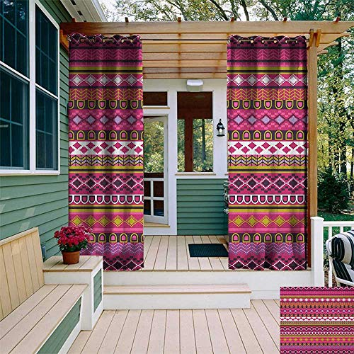 leinuoyi Pink, Outdoor Curtain Panel Design, Traditional African Motifs and Borders Ethnic Tribal Accents Vintage Native Folk Art, Fabric by The Yard W108 x L96 Inch Multicolor