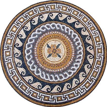 Amazon Roman Style Medallion Marble Mosaic Stone Art Tiles Hand