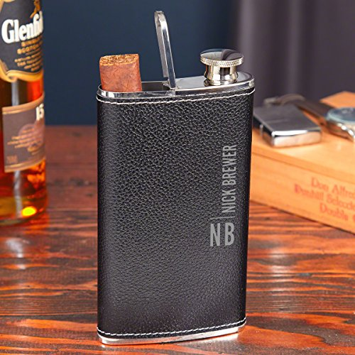 Calvin Black Leather Hip Flask and Cigar Holder (Personalized - Flask Cigar Personalized