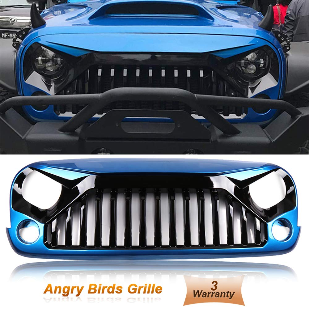 cciyu Front Grille Blue Intake Grille Front Hood Bumper Grill Grille Replacement fit for 2007-2018 Jeep Wrangler JK