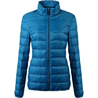 Fantiny Women's Ultra Light Weight Collar Down Jacket Packable Short Outwear Puffer Coats with Travel Bag